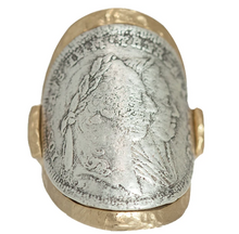 Load image into Gallery viewer, Gold Maria Theresa Curved Coin Ring