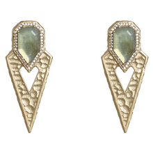 Load image into Gallery viewer, Gold Sasad Labradorite & Crystal Point Earrings