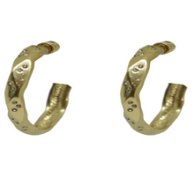 Load image into Gallery viewer, Gold Wave Impression Hoops 1""