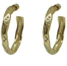 Load image into Gallery viewer, Gold Wave Impression Hoops 1.5""