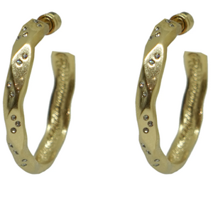 Gold Wave Impression Hoops 1.5""