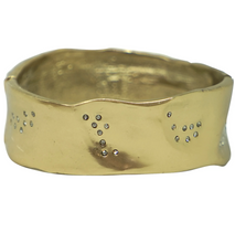 Load image into Gallery viewer, Gold Wide Impression Bangle