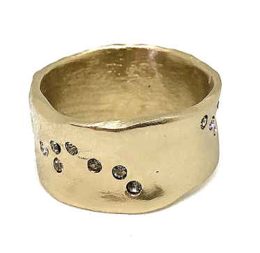 Gold Wide Impression Band Ring