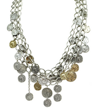 Load image into Gallery viewer, Gold 3 Tier Roman Coin Necklace