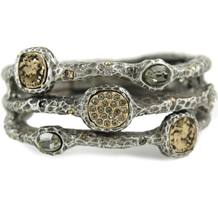 Silver Capri 3 Row Coin & Crystal Pave Bangle