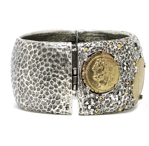Silver Coin Thick Bangle