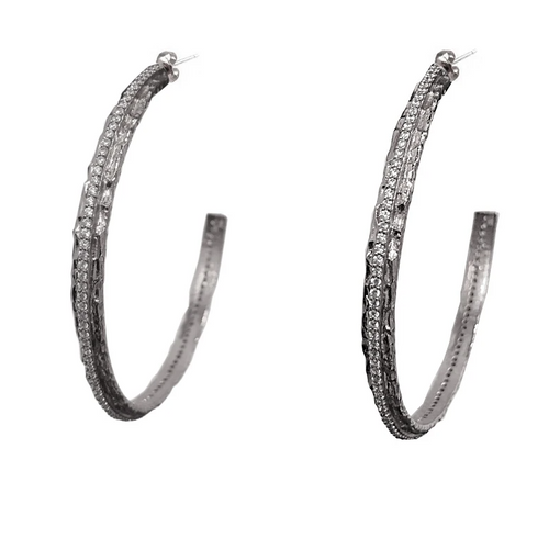 Silver Egy Crystal Thin Hoops