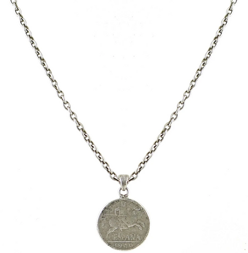 Silver Espana Coin Necklace