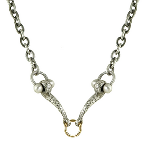 Mini Silver Horse Bit & Ring Necklace
