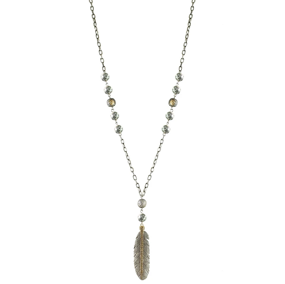 Silver Manila Crazy Lace Feather Necklace