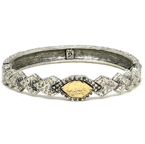 Silver Piramis Diamond Shapes Bangle
