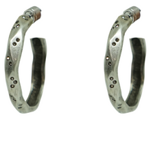Load image into Gallery viewer, Silver Wave Impression Hoops 1.5""