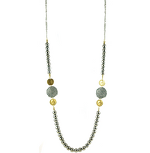 Load image into Gallery viewer, Two Tone Coin & Silver Bead Necklace
