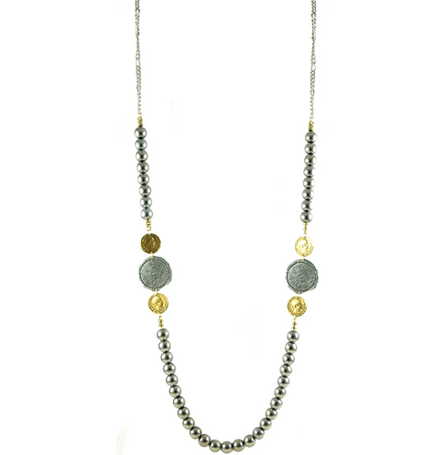 Two Tone Coin & Silver Bead Necklace