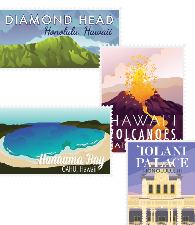 Stamps of Places in Hawaii