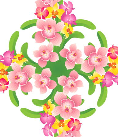 Orchid Hawaiian Quilt Design- vector