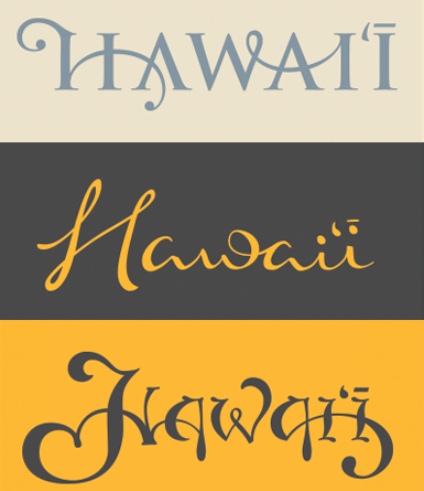 Hand Drawn Hawaii Type Set