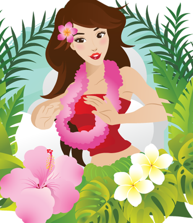 Hula Dancer Composition 1- vector