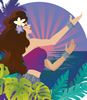 Hula Dancer Composition 2- vector