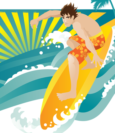Surfer (male)- vector