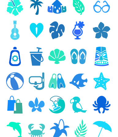 Tropical Icon Set- vector