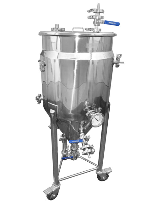 Stainless steel jacketed conical fermenter
