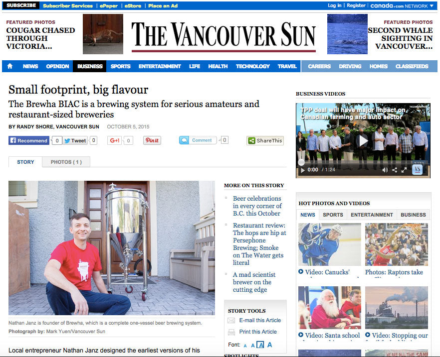 BREWHA BIAC article in the Vancouver Sun