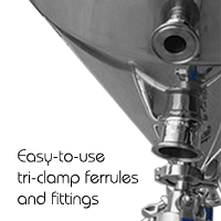 Stainless steel homebrewing equipment with tri-clamp ferrules and fittings