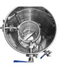 Stainless steel hot liquor kettle with HERMS coil for brewing beer