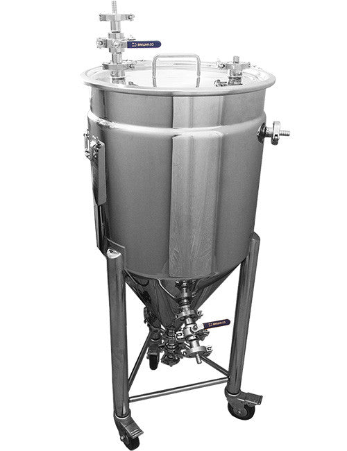 Stainless conical fermenter jacketed as part of complete beer brewing system