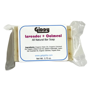 Lavender + Oatmeal Natural Bar Soap - Giddy - All Natural Skin Care