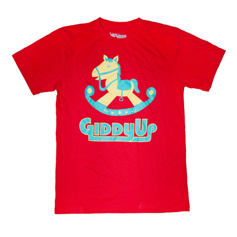Giddy UP Rocking Horse Made in America Unisex Cotton T-Shirt (2X, XL, L, M, S)