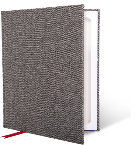 Oxford Herringbone Wool StacheBook for iPad mini