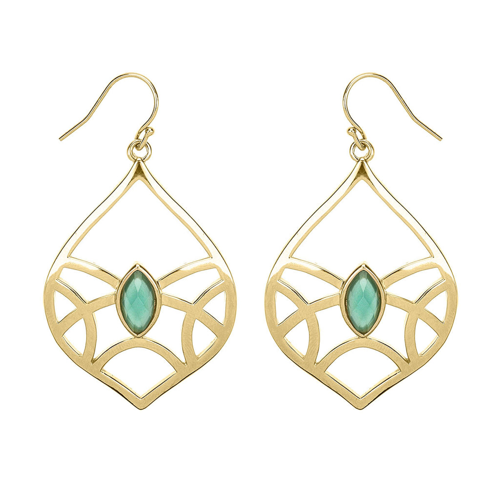 gold earrings, earrings with aqua stone, Indian inspired earrings