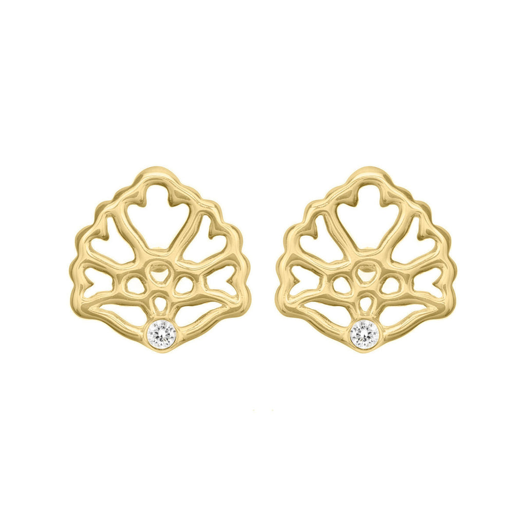 stud earrings, gold earrings, floral earrings