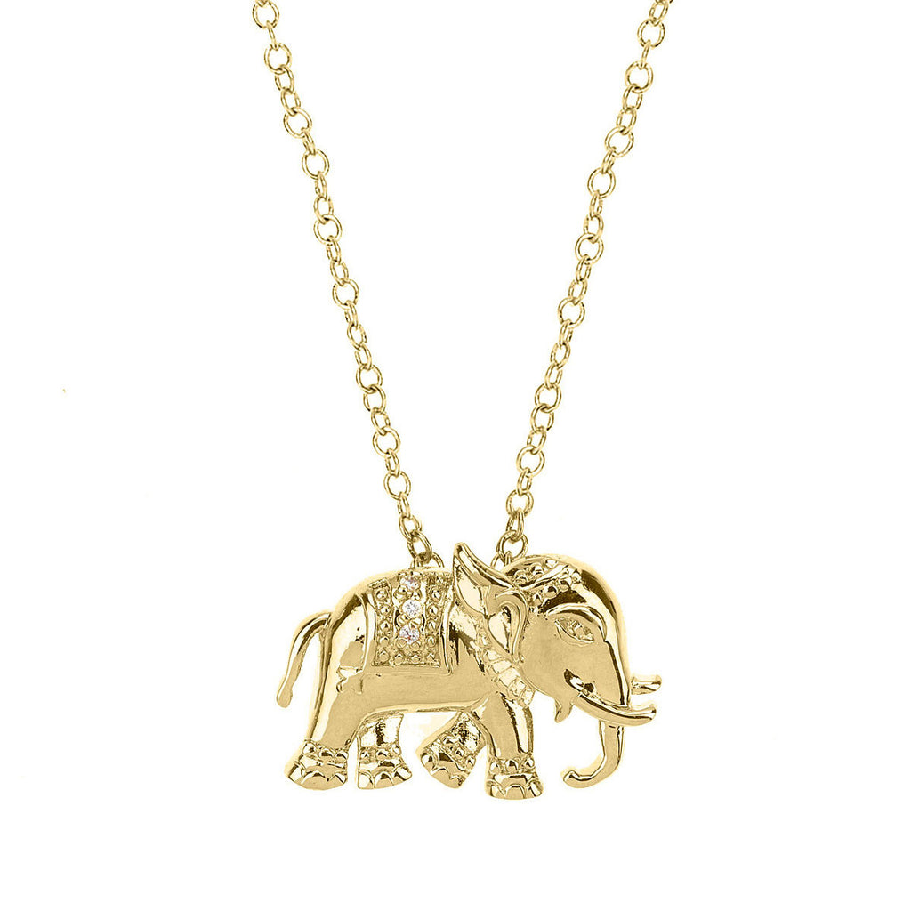 elephant necklace, gold elephant pendant, indian pendant necklace