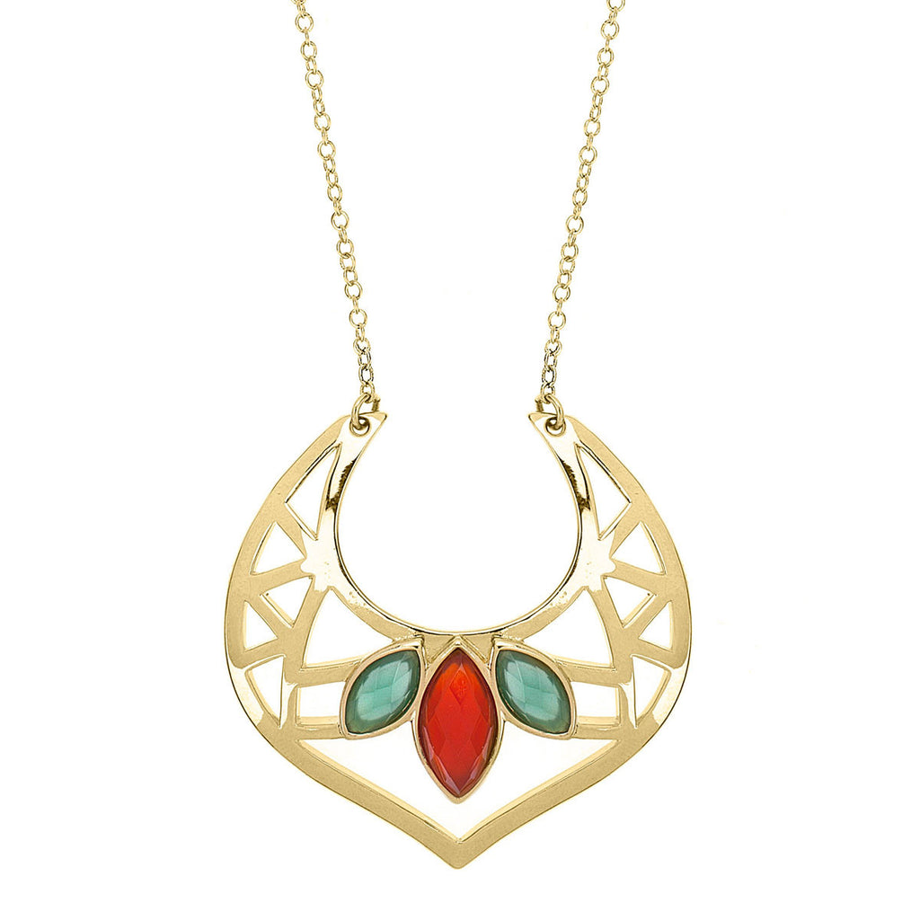 gold necklace, gold pendant with vibrant stones, long necklace