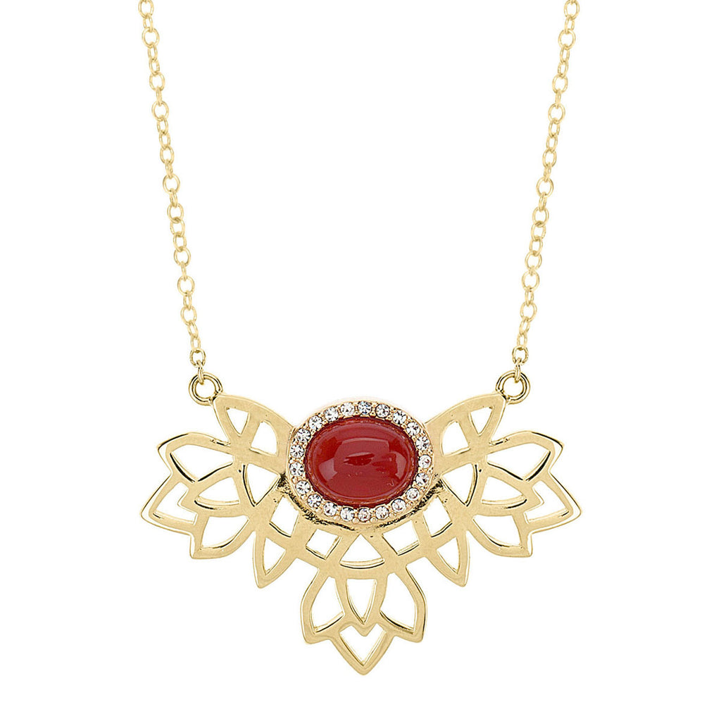gold cutout pendant, gold necklace with crimson stone