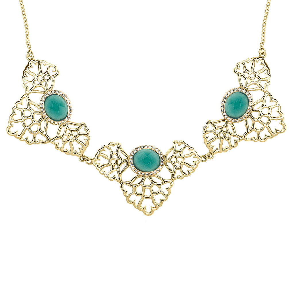 gold statement necklace, floral necklace with aqua stone