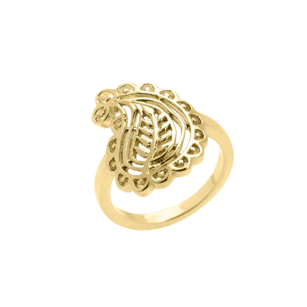 gold ring, paisley ring