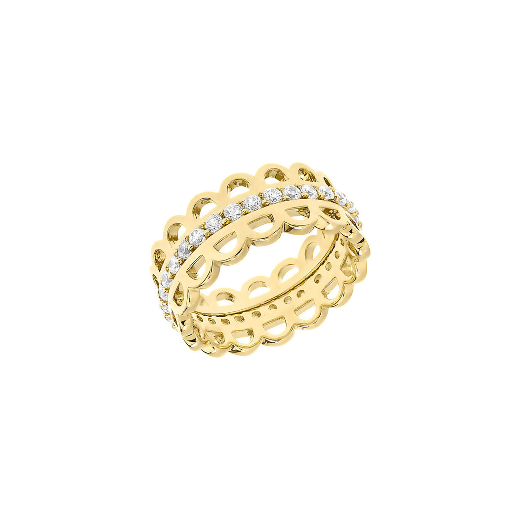 gold rings, pave band, stackable rings