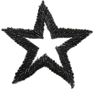 "Star with Black Beads with Cut Out Center 4"" x 4"""