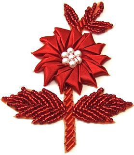 "Flower Red Satin with Red Beads and Pearls 3"" x 4"""