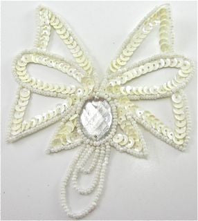 "Design Motif with Cream Sequins and Beads with Jewel 4"" x 4"""