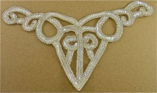 "Designer Motif Neckline with Iridescent Sequins and Silver Beads 10.5"" x 5"""