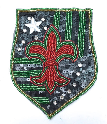 "Fleur de lis Patch with Green Red and Black 6"" x 4.5"""
