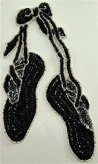 "Ballet Slippers Black and Silver Sequins 9.5"" x 6"" - Sequinappliques.com"