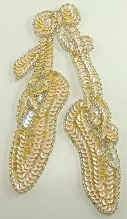 "Ballet Slippers Cream Colored Sequins 3.5"" x 7"" - Sequinappliques.com"