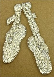 "Ballet Slippers White with silver Beads 3"" x 7"" - Sequinappliques.com"