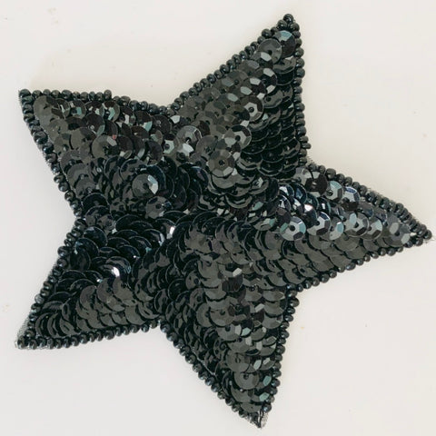 "Star Black Sequins and Beads 3.25"" x 3.5"""